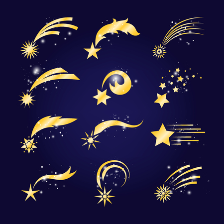 Falling comets or golden shooting stars. Vector meteorite set, comet fantasy fall on blue sky background