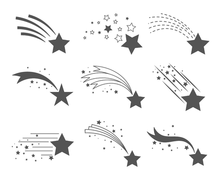 Shooting stars icons. Comet tail or star trail vector set isolated on white background. Stardust falling simple meteorites