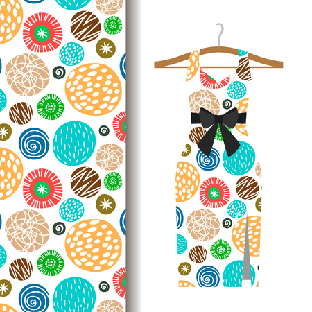 Women dress fabric pattern design on a hanger with polka dots. Vector illustration