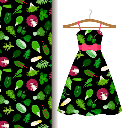 middle eastern food: Women dress fabric pattern design on a hanger with vegetables, salad leaves. Vector illustration