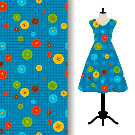 Womens dress fabric pattern design on a mannequin with sewing on blue background. Vector illustration