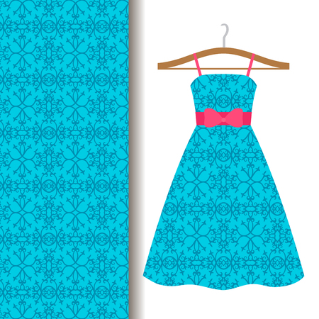Women dress fabric pattern design on a hanger with blue traditional arabic pattern. Vector illustration
