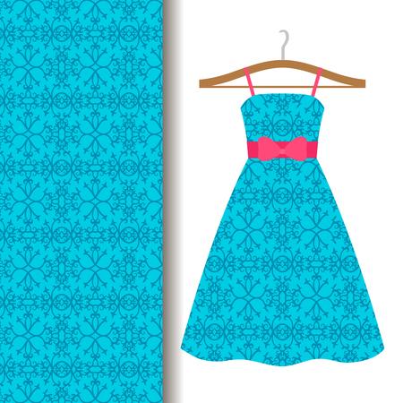 talavera: Women dress fabric pattern design on a hanger with blue traditional arabic pattern. Vector illustration