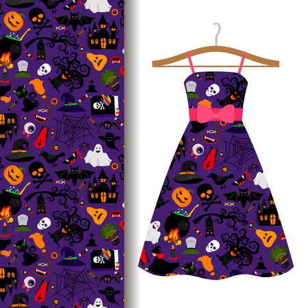 Women dress fabric pattern design on a hanger with colorful halloween symbols. Vector illustration