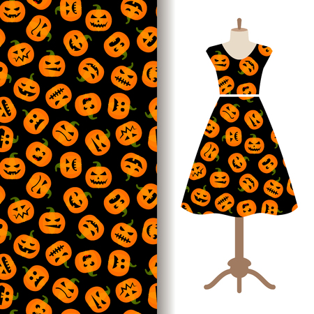 of helloween: Womens dress fabric pattern design with pumpkin autumn harvest. Vector illustration Illustration
