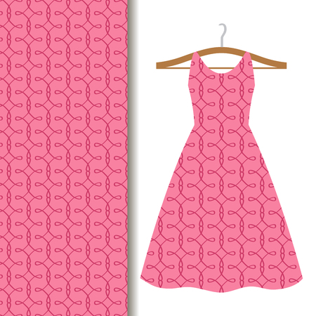 Women dress fabric pattern design on a hanger with pink geometric pattern. Vector illustration