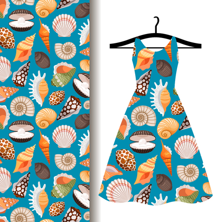 mollusc: Women dress fabric pattern design on a hanger with sea shells. Vector illustration