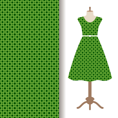 moorish clothing: Womens dress fabric pattern design with green traditional arabic pattern. Vector illustration
