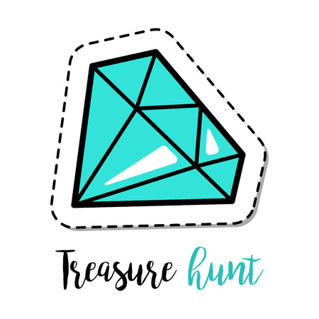 Fashion patch element with quote, Treasure hunt, and blue gem stone vector illustration