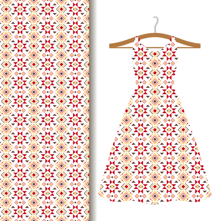 Women dress fabric pattern design on a hanger with red geometric mosaic. Vector illustration Reklamní fotografie - 76989138