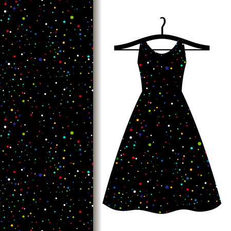 Women dress fabric pattern design on a hanger with space pattern. Vector illustration