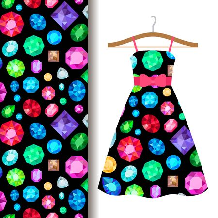 ruby: Women dress fabric pattern design on a hanger with gems. Vector illustration