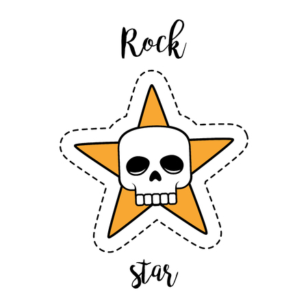 Fashion patch element with quote, Rock star. Human skull and star vector badge Illustration