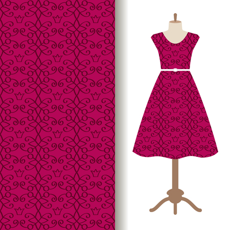 Women dress fabric pattern design on a mannequin with pink royal pattern. Vector illustration