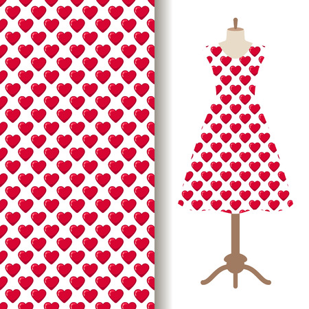 Women dress fabric pattern design on a mannequin with red glossy sweetie hearts