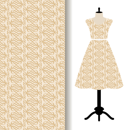 textiles: Women dress fabric pattern design on a mannequin with yellow geometric pattern. Vector illustration Illustration