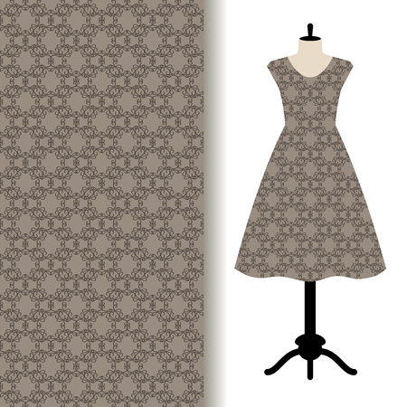 Women dress fabric pattern design on a mannequin with abstract grey pattern. Vector illustration