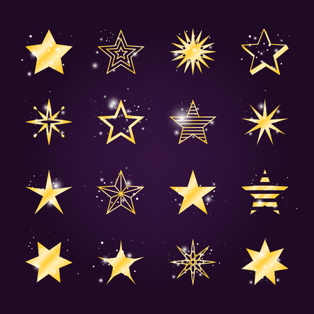 astral: Astral stars vector set. Twinkle and light golden star icons