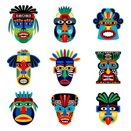 Zulú o máscara azteca iconos vectoriales. Máscaras del guerrero del inca del indio mexicano aislado en el fondo blanco Ilustración de vector