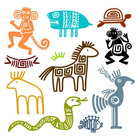Azteca y maya símbolos de animales antiguos aislados sobre fondo blanco. Ilustración de los patrones de la cultura de los indios del inca. Ilustración de vector