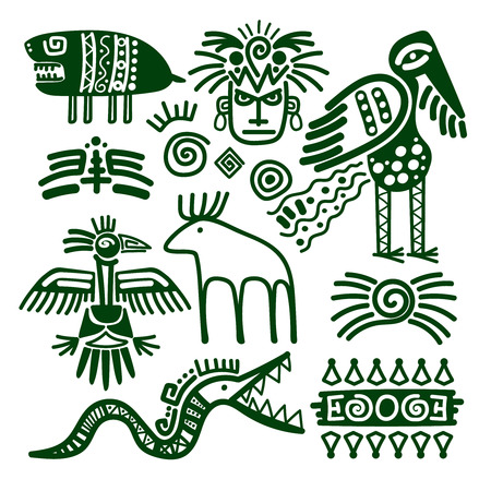 Aztec and inca native american tribal signs for embellishments and print patterns vector illustration.