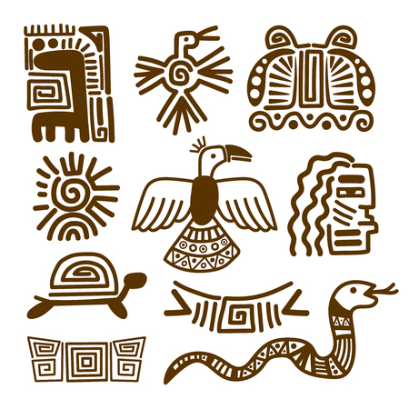 Aztec And Maya Ancient Animal Symbols Isolated On White Inca