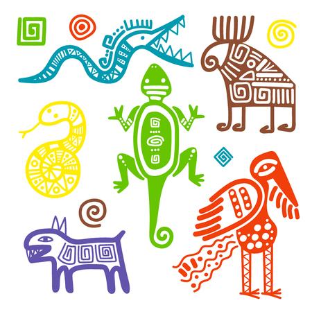 Vector Afrikaanse of Mexicaanse cultuur primitieve stammentekens die op witte achtergrond worden geïsoleerd. Etnische oude symbolen Stockfoto - 77393302