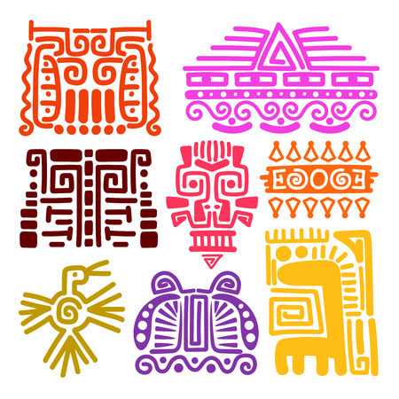 American Indians Ancient Totems Vector Illustration Mayan Inca