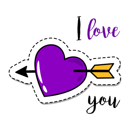 Fashion patch element with quote, I love you, and heart with arrow. Vector illustration