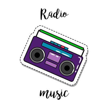 Fashion patch element with quote, Radio music, and retro radio. Vector illustration