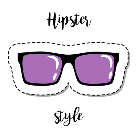 Fashion patch element with quote, Hipster style. Violet sunglasses vector badge