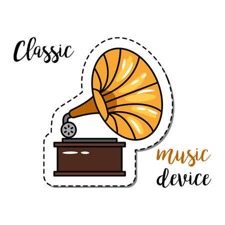 Elemento de parche de moda con cita, dispositivo de música clásica e icono del gramófono. Ilustración vectorial ilustración vectorial