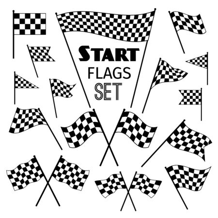 accomplish: Checkered flag icons isolated on white background. Waving and crossed vector racing flags