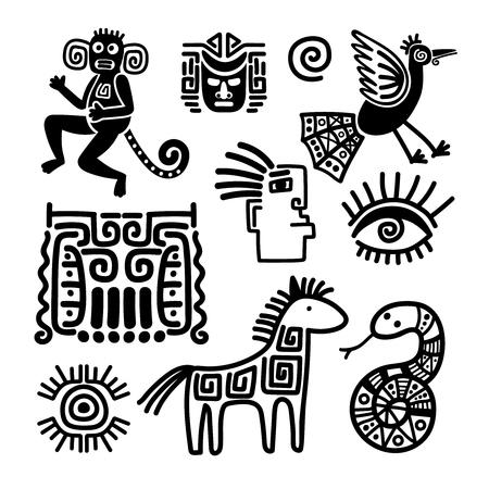 Assez Symboles D'animaux Anciens Aztèque Et Maya Isolés Sur Fond Blanc  ZW39