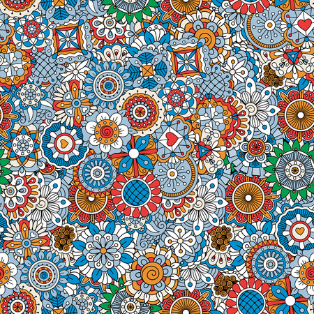 Ornamental floral pattern with mandala style elements in blue colors. Vector illustration Illustration