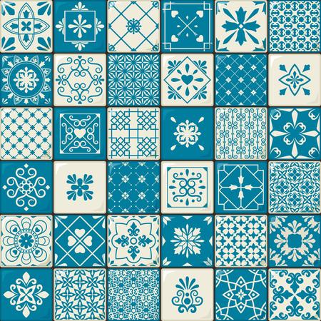 セラミック タイルのセット。ビンテージ東洋モロッコ スタイルのタイル パターンやスペインの花の装飾的なモチーフ。ベクトル図