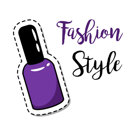 Fashion patch element with quote, Fashion style, and nail polish. Vector illustration Illustration