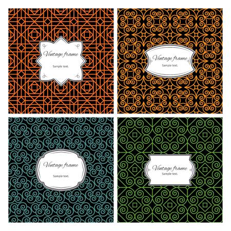 Set of seamless colorful geometric patterns with vintage frame. Vector illustration Illustration