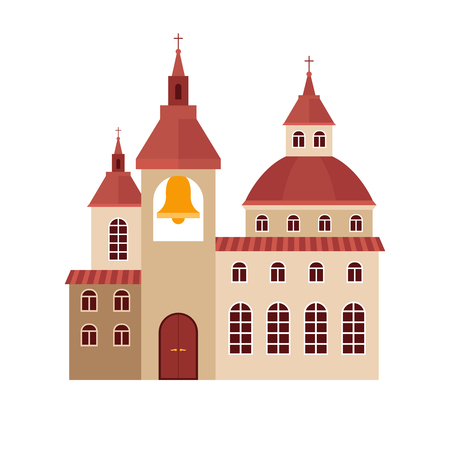beige: Church building flat colorful icon on white background. Vector illustration Illustration