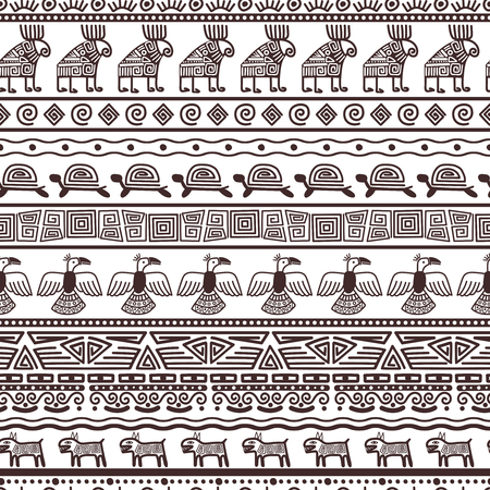 Ethnic aztecs or peruvian pattern template. Vector tribal black borders fabric with mexican indian texture 向量圖像
