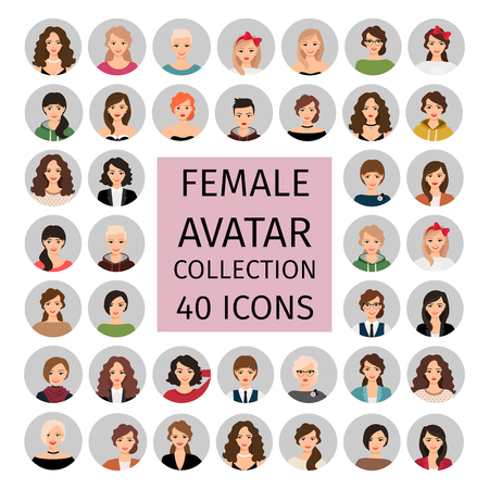 Beautiful female avatar collection icons set. Vector illustration