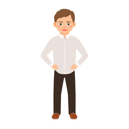 Boy in a classic clothes isolated vector illustration on white background