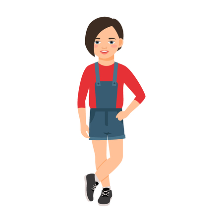 Girl in a denim overalls isolated vector illustration on white background