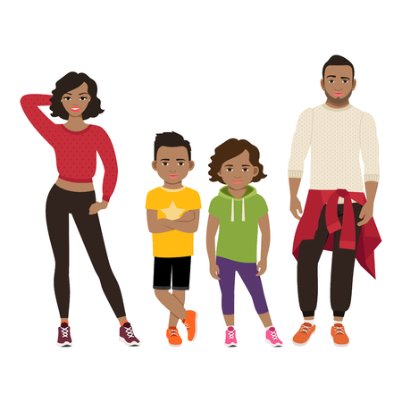 Happy black family. Father, mother, son and daughter together in sport style. Vector illustration