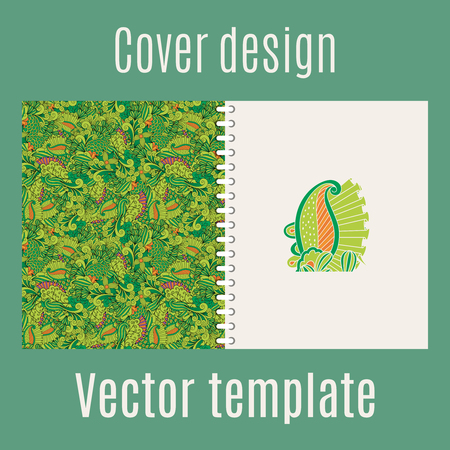 papering: Cover design for print with jungle leaves and swirl ornament. Vector illustration