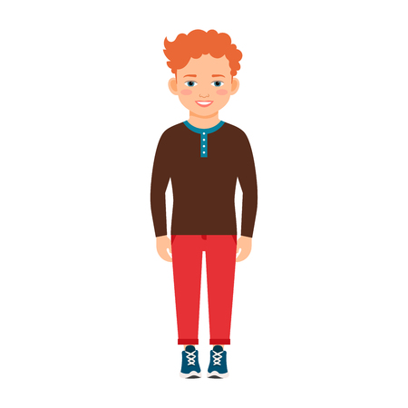 Red hair boy in a brown shirt isolated vector illustration on white background