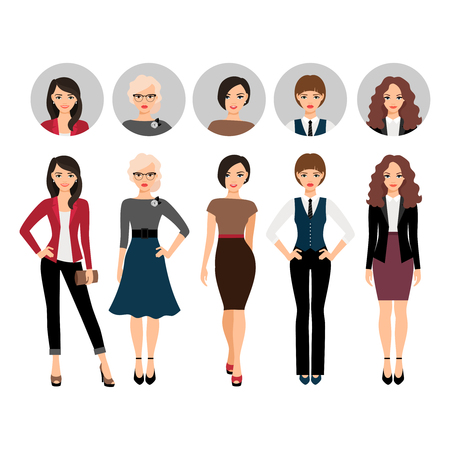 Cute young woman in different style clothes with face avatar icons vector set
