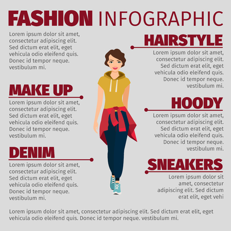 Fashion infographic with girl in sports clothes. Vector illustration