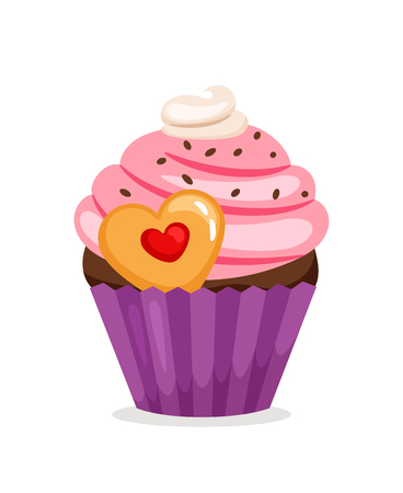 Muffin with pink cream and heart shape cookie. Vector cupcake illustration on white background Illustration