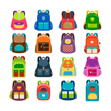 Kids schoolbag set isolated on white background. Children colored cartoon backpacks for school study vector illustration Stock Illustratie